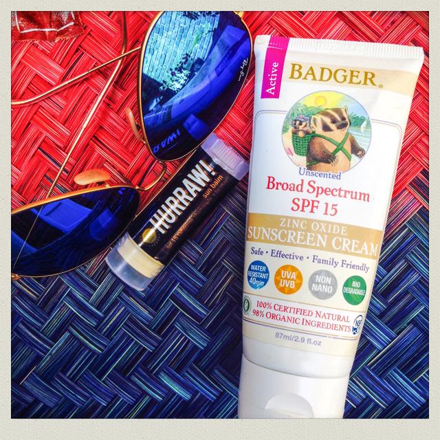 Natural Badger sunscreen and Hurraw UV lip balm